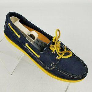 Tesori Womens Boat Shoes Suede Blue Yellow Sz 8.5